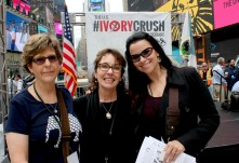 Cynthia Newlin O'Connor (center) and Christina LaMonica, in Times Square for the US Fish and Wildlife Services; Ivory Crush. Cynthia's testimony led to the enactment of legislation in New York banning the sale of Ivory and Rhino horn products. She also was responsible for the second Ivory crush in U.S. history on American soil in New York City.